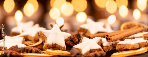 cinnamon stars with oranges for christmas panorama