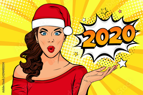 2020 New Year comic book style postcard or greeting card with WOW sexy young girl Canvas Print