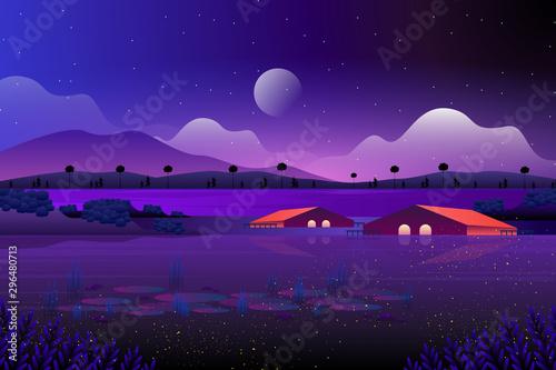Foto auf Gartenposter Violett Purple starry night sky with red home landscape