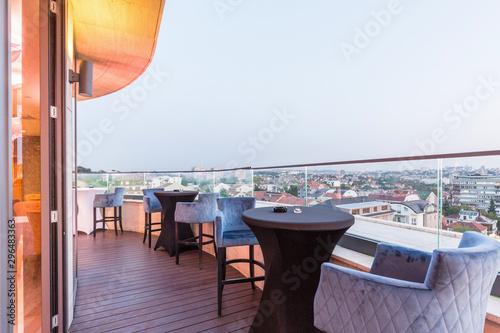Fotomural Interior of a rooftop hotel bar restaurant terrace