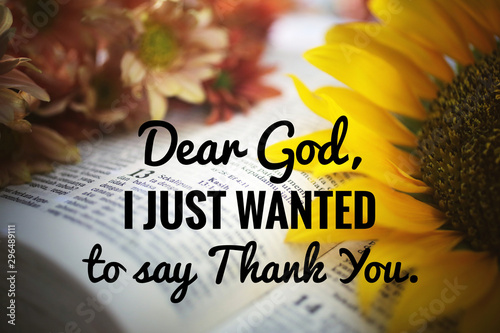 inspirational quote - Dear God, i just wanted to say thank you Wallpaper Mural