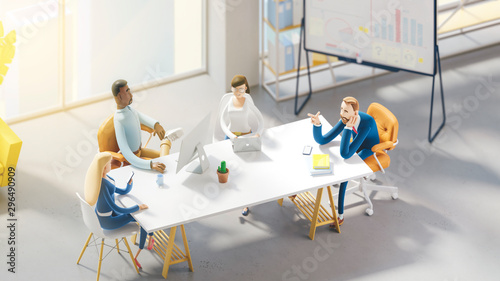 Seminar business conference with workers in office, planning new strategy. 3d illustration. Cartoon characters. Business teamwork concept.