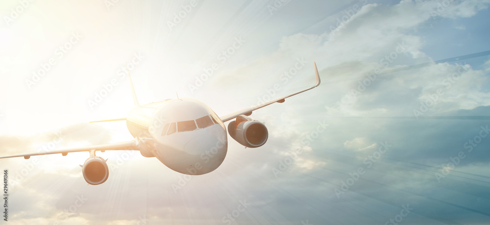 Fototapety, obrazy: a powerful aircraft is striving forward in the sky.