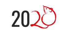 Chinese Lunar New Year 2020 Year Of The Rat. Logo 2020