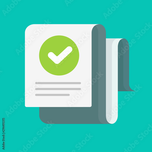 Fotomural  Long document with verified tick or approved checkmark vector flat cartoon, conc