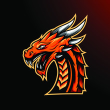 Dragon Mascot Gaming Logo Template For Team Or Personal Esport
