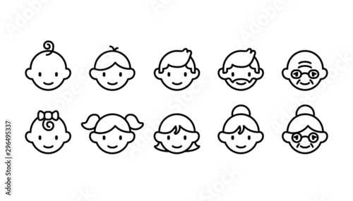 Icon set of different age groups of people from baby to elder (Cute simple art s Canvas Print