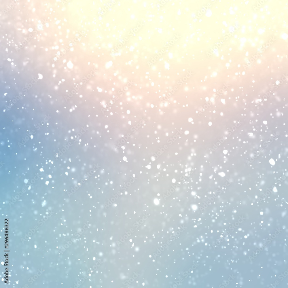 Fototapety, obrazy: Wonderful winter shiny background. Light snowfall pattern. Delicate blue yellow pink subtle transition. Pastel season cool template. Attractive decoration. Bright iridescent graphic.