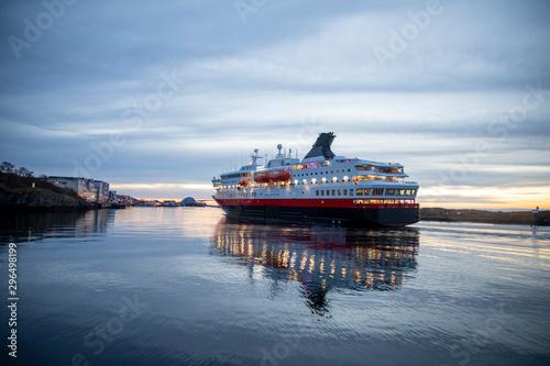 Coastal passenger ships arrive at Brønnøysund harbor in Nordland county Fototapeta