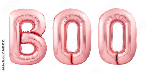 Fotografie, Obraz  Word Boo made of inflatable balloons isolated on white background
