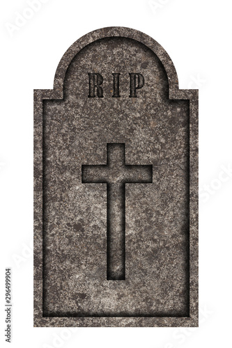 Photo  Decorated, oval granite tombstone on white background with engraved R