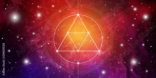 Stampa su Tela  Sacred geometry website banner with golden ratio numbers, eternity symbol, interlocking circles and squares, flows of energy and particles in front of outer space background