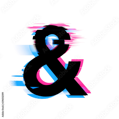 Photo Ampersand distorted neon glitch effect text font. 3D Render