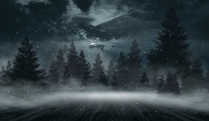 Dark forest. Gloomy dark sc...