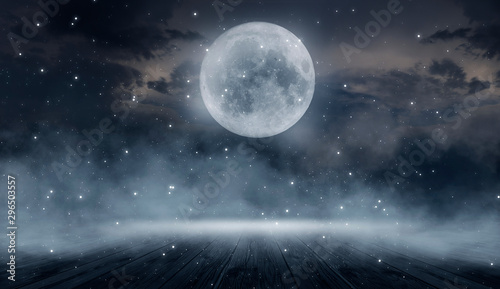 Fototapety, obrazy: Background of empty dark scene with wooden old floor. Neon light smoke. Dark abstract background. Night wooden table