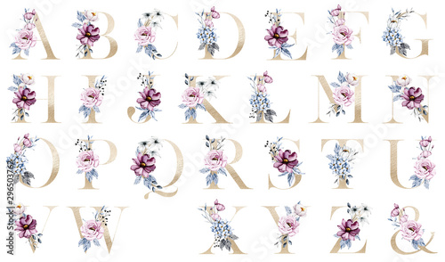 Floral alphabet, gold letters with watercolor pink and blue flowers and leaf. Botanical monogram initials perfectly for wedding invitations, greeting card and other. Holiday design hand painting.