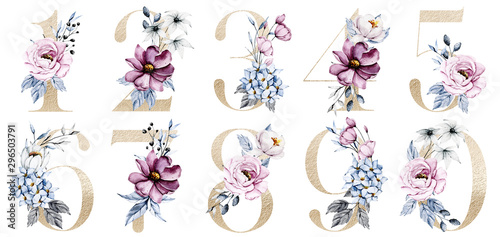 Fotomural  Gold numbers set with watercolor flowers roses and leaf