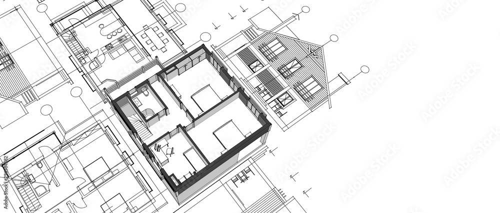Fototapety, obrazy: house architectural project sketch 3d illustration