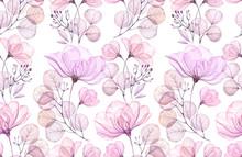 Transparent Rose Watercolor Seamless Pattern. Hand Drawn Floral Vintage Illustration For Wedding Design, Surface, Textile, Wallpaper