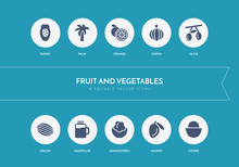 10 Fruit And Vegetables Concept Blue Icons