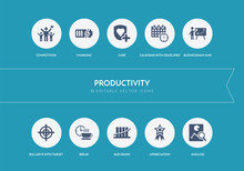 10 Productivity Concept Blue Icons