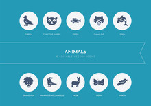 10 Animals Concept Blue Icons