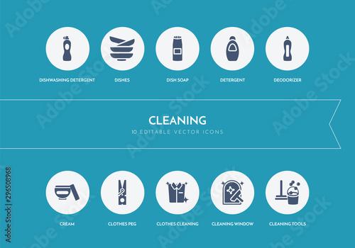 Obraz na plátně  10 cleaning concept blue icons