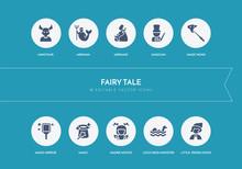 10 Fairy Tale Concept Blue Icons
