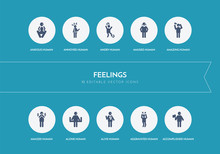 10 Feelings Concept Blue Icons