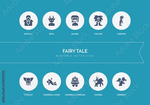 Photo 10 fairy tale concept blue icons