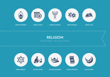 10 Religion Concept Blue Icons