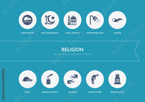 10 religion concept blue icons Wallpaper Mural