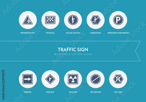 Fotomural  10 traffic sign concept blue icons