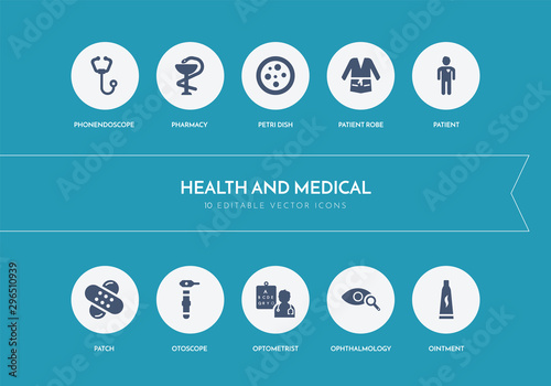 10 health and medical concept blue icons Fototapet