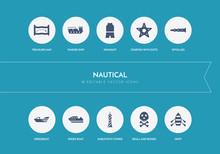 10 Nautical Concept Blue Icons