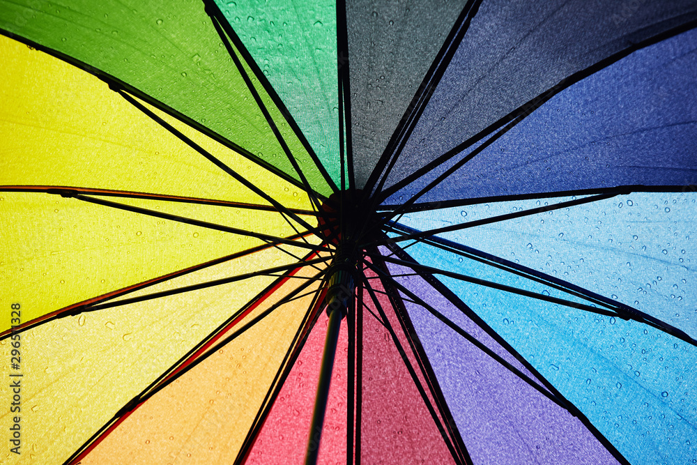 Fototapety, obrazy: multicolored umbrella with raindrops.