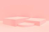 3d rendered - pink podium product display mockup