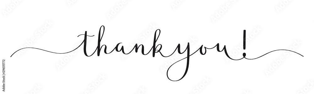 Fototapeta THANK YOU! black vector calligraphy banner