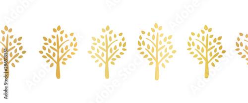 Fototapeten Künstlich Gold foil tree silhouette seamless vector border. Repeating pattern for ribbon, banner, card design. Elegant art for party, celebration, holidays decoration