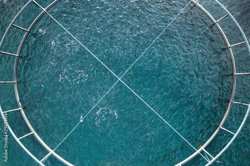 Bird's Eye View of a Fish Pen in the Ocean Used for Fish Aquaculture Farming Wallpaper Mural