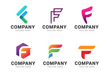 Set Of Letter F Logo Icons Design Template Elements. Collection Of Vector Sign Symbol