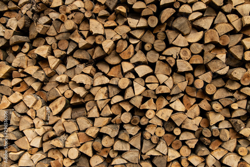 Foto op Plexiglas Brandhout textuur fire wood type of fuel background textured stock place preparing for winter