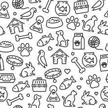 Pets Animals Icons - Seamless Pattern