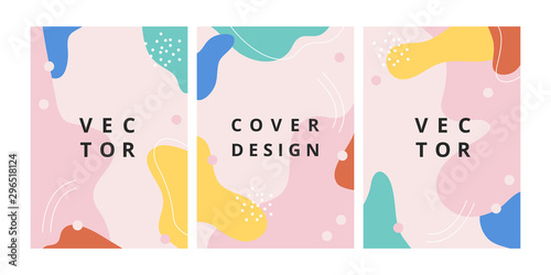 Fototapety, obrazy: Set of modern design template with abstract wave shapes in memphis style. Minimal fluid background in bright colors for brochure, flyer, banner, poster and branding design. Vector illustration