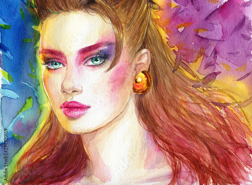 Abstract woman face. fashion illustration. watercolor painting