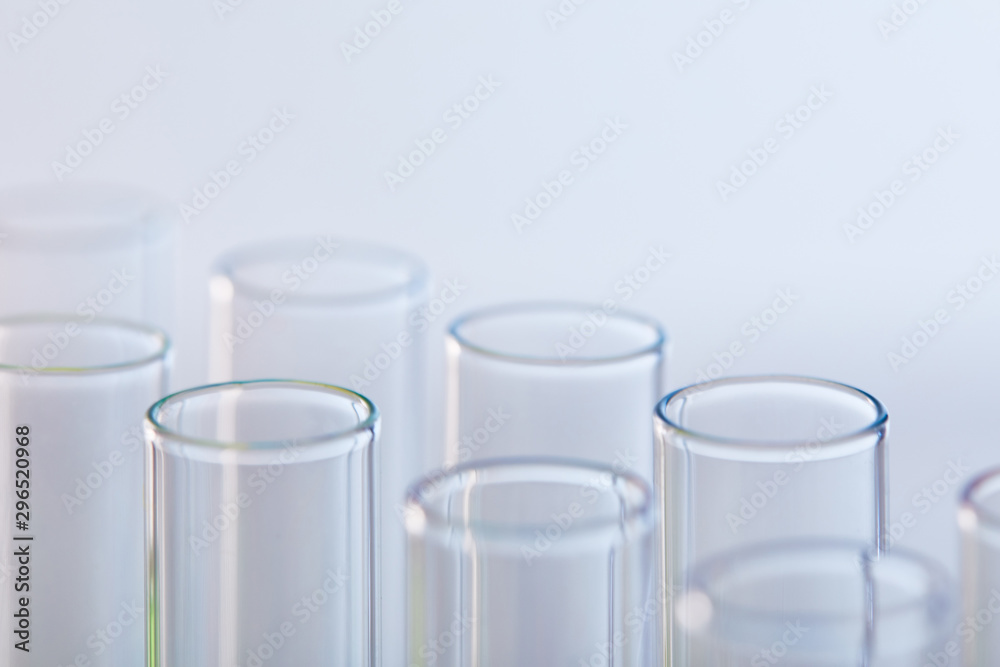 Fototapety, obrazy: close up view of glass test tubes isolated on white