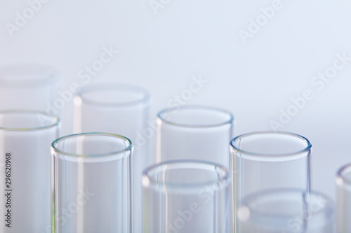close up view of glass test tubes isolated on white Wallpaper Mural