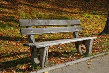 Wooden Bench In An Autumn Park