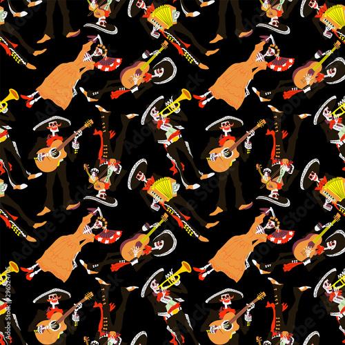 Photo  Dia de los muertos seamless pattern