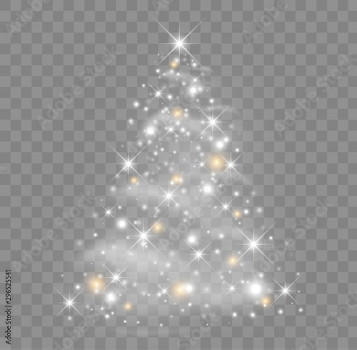 Pinturas sobre lienzo  Shiny Christmas tree vector illustration with glowing particles and stars